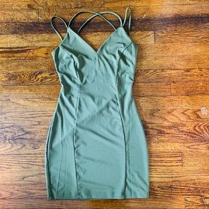Army green, low back, tight mini dress